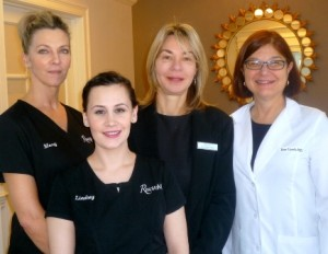 Dr. Jean Casello, right, with the staff of RenovoMD, from left, Mary Dillon and Lindsey Angelo-Gauthier, aestheticians and laser technicians, and Michelle Theis, practice manager Photo/Nancy Brumback