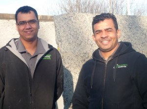 Beau Sula Gomes, Left, And Fafa De Souza With Slabs Of Stone At Universal  Countertop