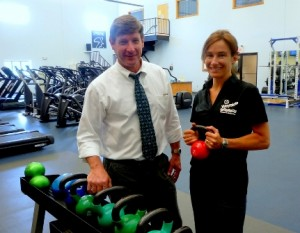 Darren McLaughlin with Nathalie Racine, one of Wayside's personal trainers. Photo/Nancy Brumback