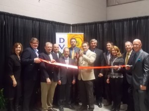 Local officials join representatives of Delaware Valley Floral Group to celebrate the company's grand opening of its Shrewsbury location. (Photo/Bonnie Adams)