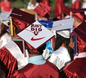 A graduate declares his accomplishment.