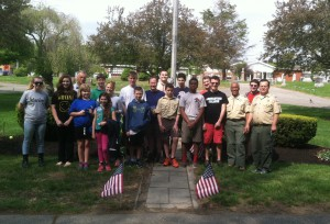 Volunteers helped place flags for Memorial Day Photo/submitted