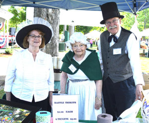 Selling raffle tickets to benefit the Grafton Historical Society are (l to r) Nancy Therrien, president; Jane Nozzolillo, volunteer; and Joe Schilke, curator. Photos/Ed Karvoski Jr.
