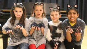 "(l to r) Young actors Isabella Marois, Caroline Chaisson, Brody Riolo and Riya Dalal at a recent rehearsal for ""Disney's The Aristocats Kids"" Photo/submitted"