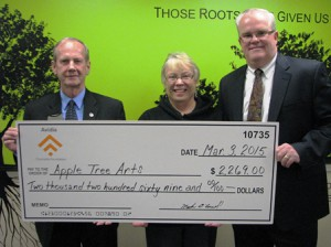 (l to r) Jimmie Ames, assistant vice president and marketing manager of Avidia Bank; Donna Blanchard, executive director of Apple Tree Arts; and Mark R. O'Connell, president and CEO of Avidia Bank Photo/submitted