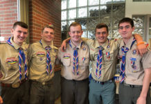 Grafton BSA Troop 107 honors five of its scouts. Photo submitted