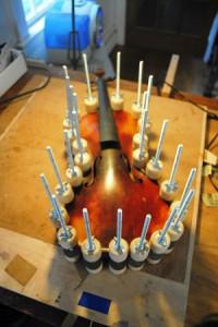 Part of the violin repair process.
