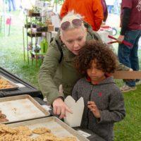 Kai Jackson and Nicole Clark enjoy picking out their favorite cookies.