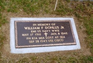 A plaque honoring U.S. Navy Petty Officer William Dohlus is now at his family's plot.