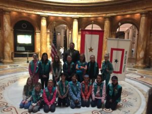 Rep. David Muradian with members of Grafton Junior Girl Scout troop 30222. (Photo/submitted)