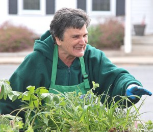 Grafton Garden Club member Carolyn Jakubiak helps plant buyers.