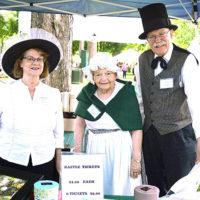 Jane Nozzolillo (center) with Grafton Historical Society president Nancy Therrien and Joe Schilke, curator. Photo/Ed Karvoski Jr.