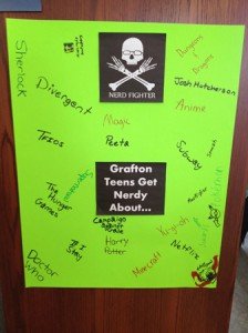 A poster of what Grafton teens are 'nerdy' about hangs in the library. (Photo/submitted)