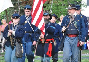 Presenting the colors is the 13th Massachusetts Infantry, Company F.