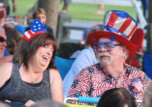 Deb and Jim Gallagher share a laugh, as well as taste in patriotic attire.
