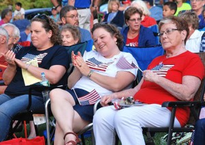 (l to r) Abby Krist, Brandie Sleeman and June Lufkin wear their stars and stripes to the concert.