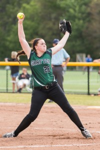 Grafton's Shannon Mortimer winds up to pitch in a playoff game against David Prouty.