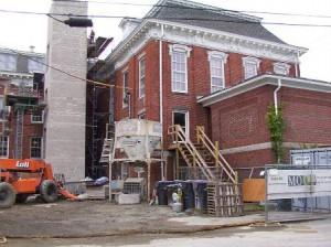 This photo, taken July 18, shows work proceeding on the Town House at Grafton Common. Photo/K.B. Sherman