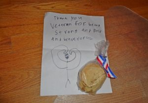 A letter and cookies from a student to veterans