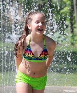 Gaby Tavares, 9, enjoys the Splash Pad.