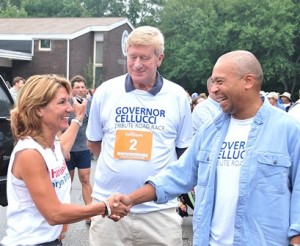 (l to r) Republican candidate for lieutenant governor Karyn Polito of Shrewsbury greets former Gov. Bill Weld and Gov. Deval Patrick.