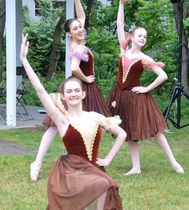 Dancers of the Metrowest Ballet in Hudson conclude a routine.