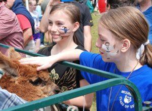 Regina Leroy, 11, and her sister Myah, 10, pet an alpaca from Twillingate Farm in Sudbury.