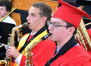 Saxophonists Robert Zina and Jake Barry perform with the Hudson High School Concert Band. Photo/Ed Karvoski Jr.
