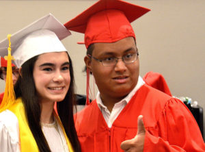 Class Vice President Dominique Chaves and Matthew Frias pose for a photo before the ceremony. Photo/Ed Karvoski Jr.