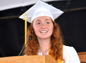 Salutatorian Maya Sourial explains how lessons learned are beneficial. Photo/Ed Karvoski Jr.