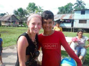 Meghan Cadden (left) with a Peruvian student named Jefferson in his hometown of Urco Mirano, Peru. (Photo/submitted)