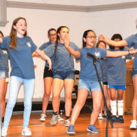 """Youth Theater performers present a number from """"Once on This Island."""" Photo/Ed Karvoski Jr."""