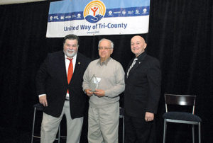 (l to r) Paul Mina, United Way of Tri-County (UWTC) president and CEO; Dick Lacerte of Hudson, Volunteer of the Year; and Gerry Gaw, UWTC board chair. Photos/submitted