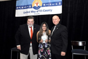 (l to r) Paul Mina, United Way of Tri-County (UWTC) president and CEO; Victoria Mier of Hudson, Youth Volunteer of the Year; and Gerry Gaw, UWTC board chair. Photos/submitted