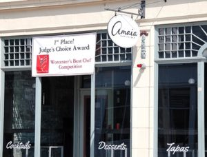 Banner at Amaia Martini Bar proclaims its Judge's Choice Award of Worcester's Best Chef Competition.