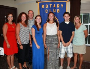 (l to r) Tammy Johnson, Shari Gaffney, Hudson Rotary Club President Marty Libby, Samantha Johnson, Haley Gaffney, Luke Saliga and Paula Saliga. (Photo/submitted)