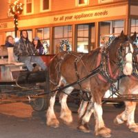 A horse-drawn wagon passes Hudson Appliance on Main Street.