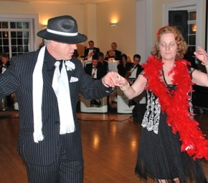 John Hanlon and Maria Vestarhis dance to the music of the Dom V Swing Out Big Band.