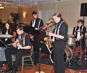 Providing musical entertainment is the Marlborough High School Small Jazz Combo consisting of (l to r) Ashley Levy, Shawheen Fagan, Alex Sutton, Sarah Hanahan and Alex Aquila.