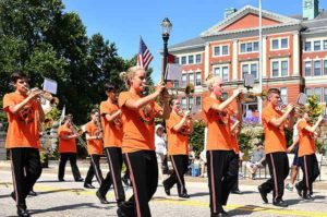Marlborough High School Marching Panther Band brings music to the parade route. Photos/Ed Karvoski Jr.
