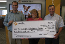 (l to r) Keith Dwinells, AVP and main office branch manager of Avidia Bank; Marie Cheetham, executive director of the Addiction Referral Center (ARC); Ernie Kapopoulos, Board of Directors, president of ARC. Photo/submitted