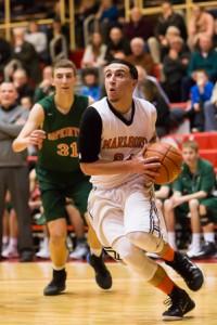 Marlborough's Joseph Cappadona looks up at the basket as he prepares to shoot.