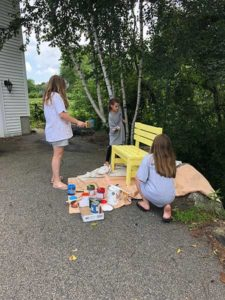 The girls are hard at work on their benches. Photos/submitted