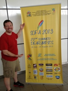 Christopher Kaftan, secretary general of the USA Deaf Sports Federation, at the 2013 Deaflympics in Bulgaria in July.