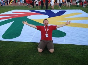 Marlborough resident Christopher Kaftan in front of the Deaflympics logo. Photos/submitted