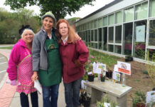 (l to r) Holly Evangelous, Ceil Mikalac, and Karen McEachern outside the plant sale. Photos/submitted