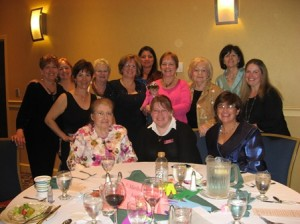 Among the many members of the Marlborough Junior Woman's Club who attended the Juniors Annual Conference held in May were Diane McCurley (standing, fourth from right), and Marilyn Perry (standing, third from right).