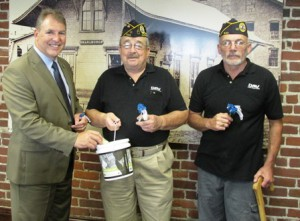 (l to r) Mayor Arthur Vigeant, poses for a photo with Ward 2 City Councilor Robert Page and Ron Dalbec, both who are members of the Disabled American Veterans, local chapter 82 of Marlborough  Photo/submitted