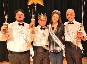 Gathered after the pageant are (l to r) Connor Bailey, second runner-up; Billy Garcia Mateo, the newly crowned Mr. MHS 2015; Sophie Baird, Miss Massachusetts Teen 2015, who served as a judge; and Peter DiPersio, first runner-up, wearing a bald cap from a previous skit.