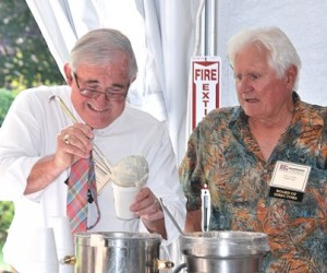 Manning the clam chowder station are City Councilor Don Landers and Jeffrey Schaffer, a MRCC board member.